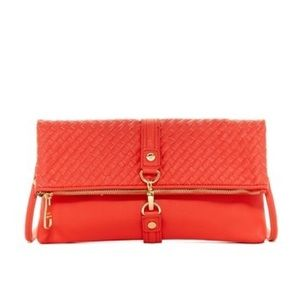 Steve Madden Aria Woven Flap Crossbody Bag Coral